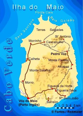 Map of Maio Island in Cape Verde