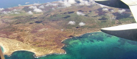 Aerial view of Maio as you fly into the airport from Praia