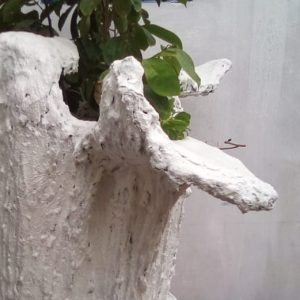 maio locally made concrete large garden planter by crafts people close up view