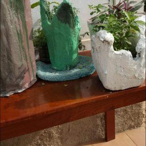 handmade concrete tall round planter