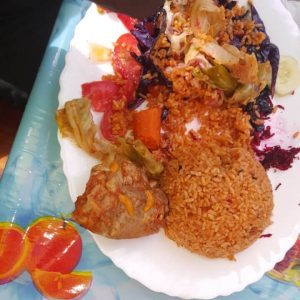 Chicken and rice dish, gambian food served at casablanca morro restaurant
