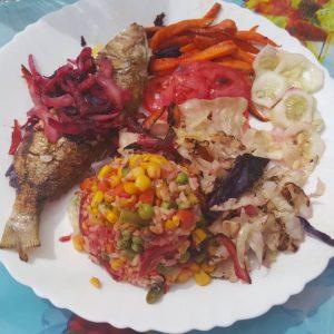 local fresh fish dish, gambian food served at casablanca morro restaurant
