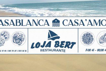 casablanca mini-mercado and loja bert restaurante banner in morro on ilha do maio